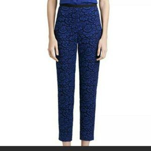 St John Crochet Lace Overlay Silk Lined Ankle Pant